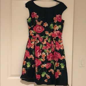 Eliza J Floral Cap Sleeve Cotton Dress